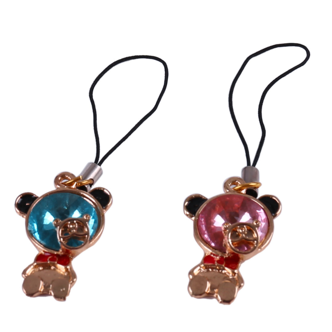 Lovers Plastic Crystal Inlaid Bear Pendant Cell Phone Charms