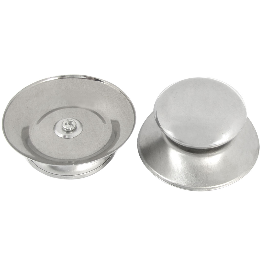 Metal Silver Tone Kitchenware Pan Pot Lid Cover Knob 68mm Dia 2PCS
