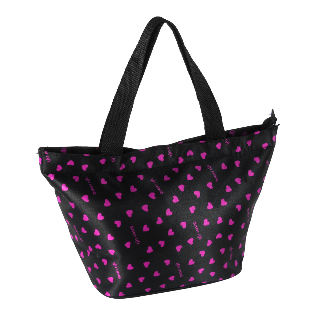 Fuchsia Heart Pattern Black Nylon Polyester Zipper Handbag for Lady