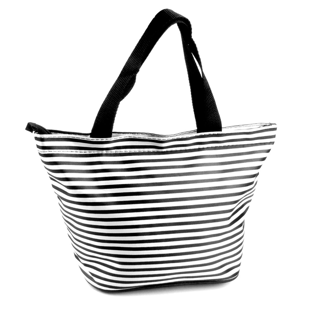 Women Black White Stripes Pull Zipper Nylon Pockets Tote Bag Handbag