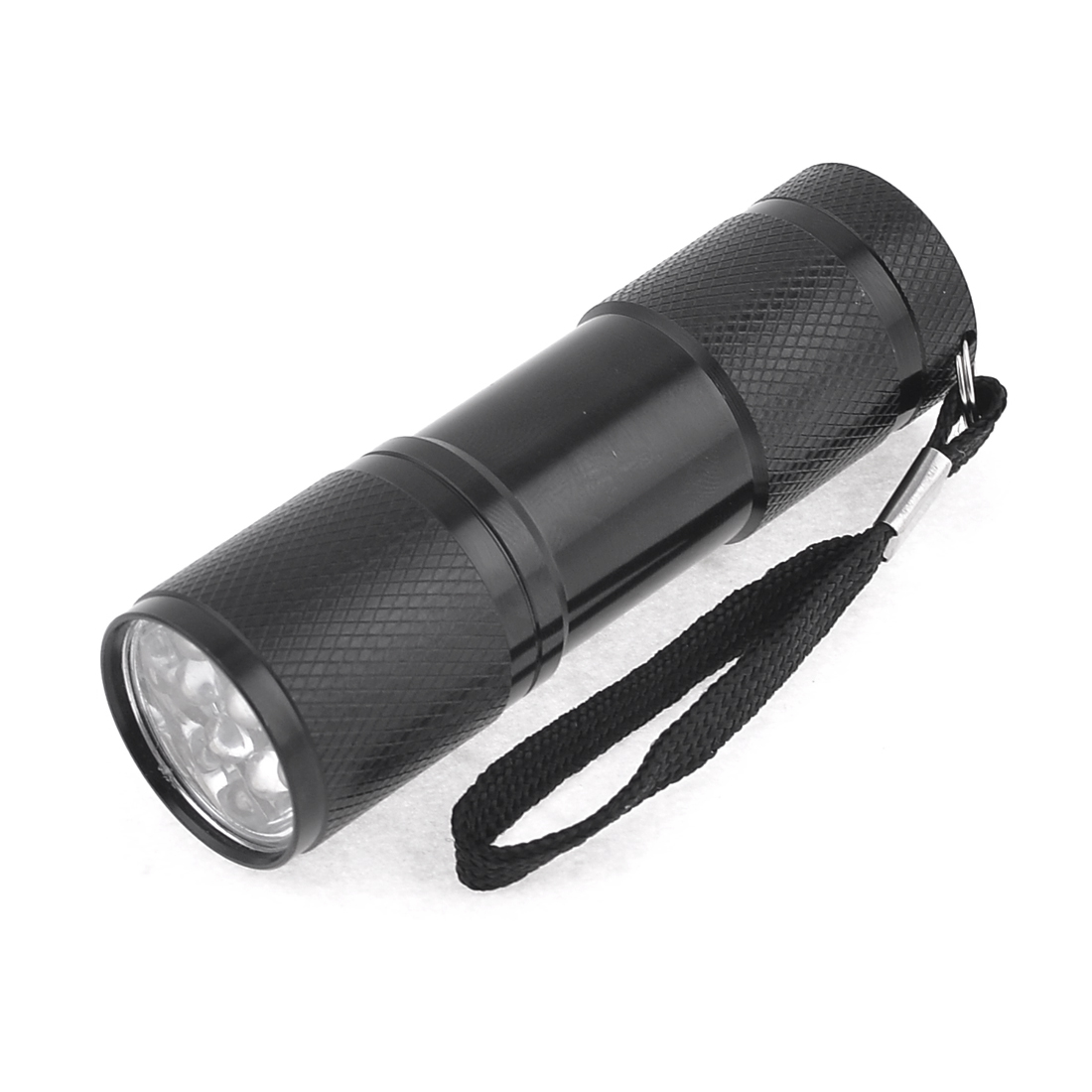 Camping Hiking Metal Shell White 9 LED Light Black Flashlight 160LM w Strap