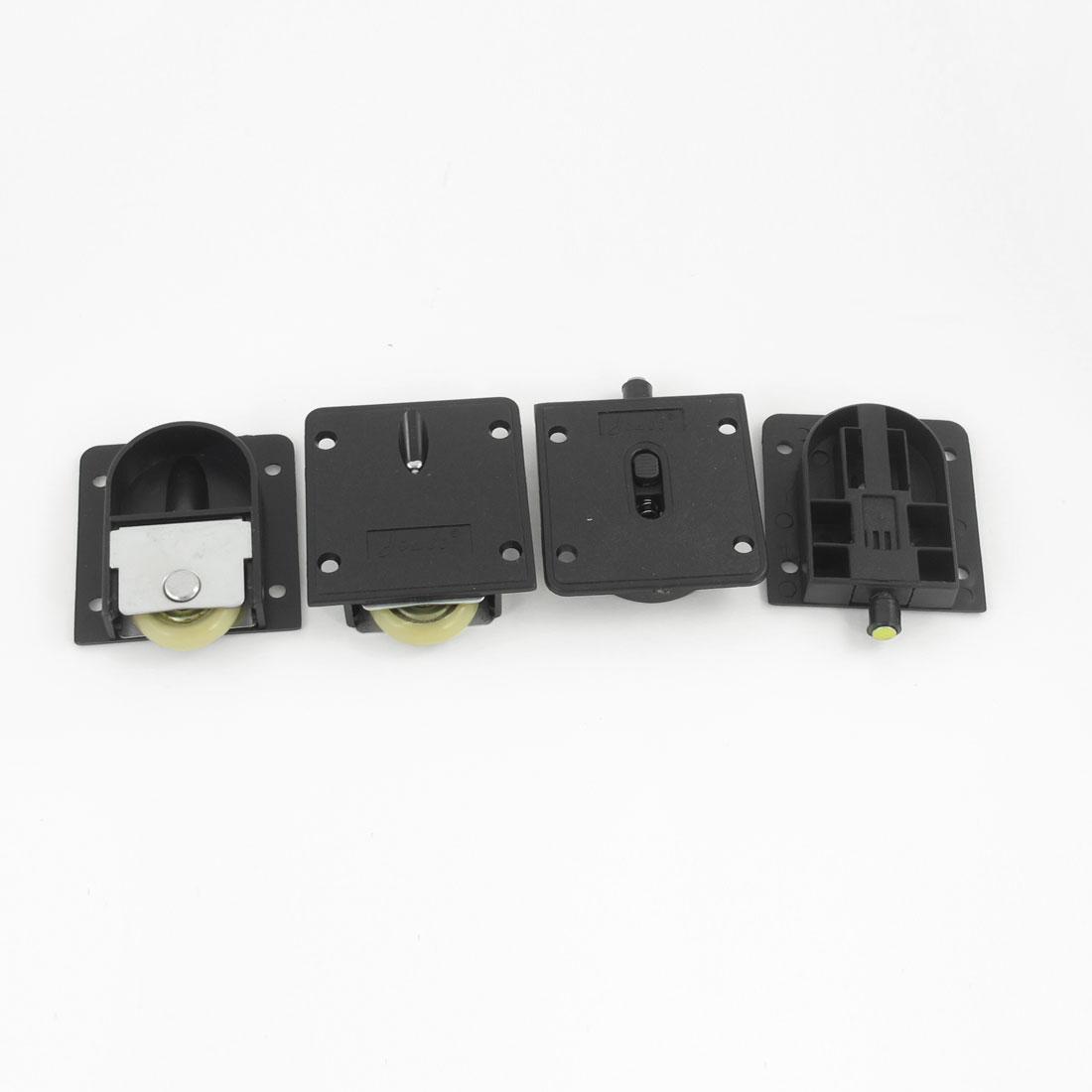 2 Set Wardrobe Component Black Plastic Plate 25mm Dia Wheel Sliding Door Roller
