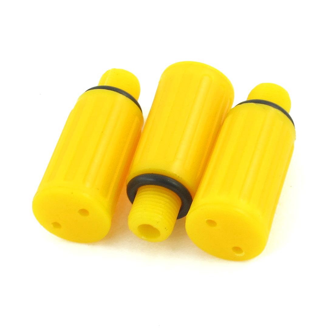3 Pcs 10mm Male Thread Dia Yellow Plastic Oil Plug for Air Compressor