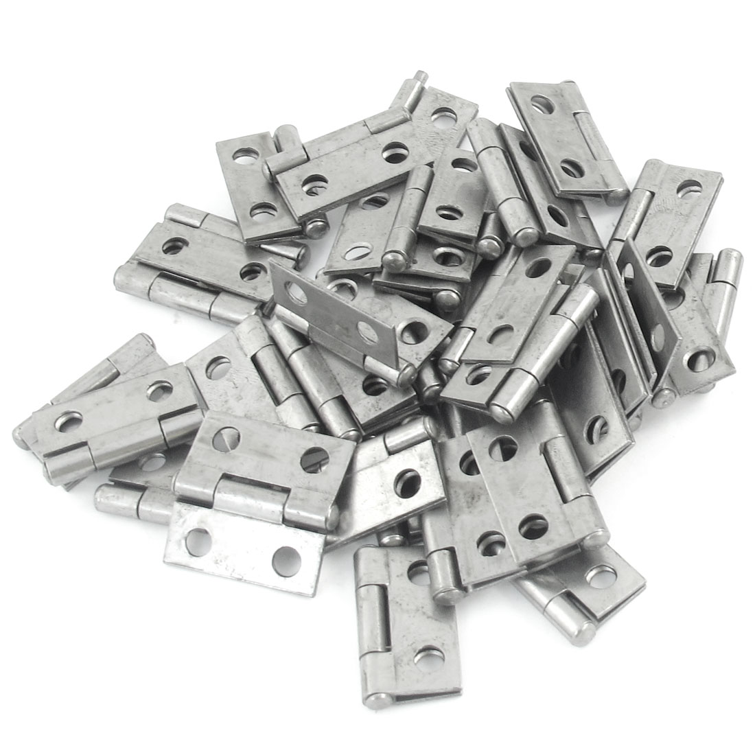 "40 Pcs 1"" Long Silver Tone Metal Cabinets Window Doors Hinges"
