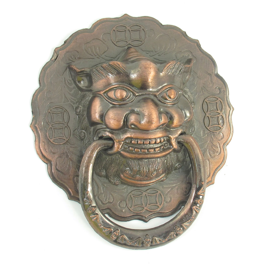 Antique Style Copper Tone Metal Lion Head Design Pull Handle
