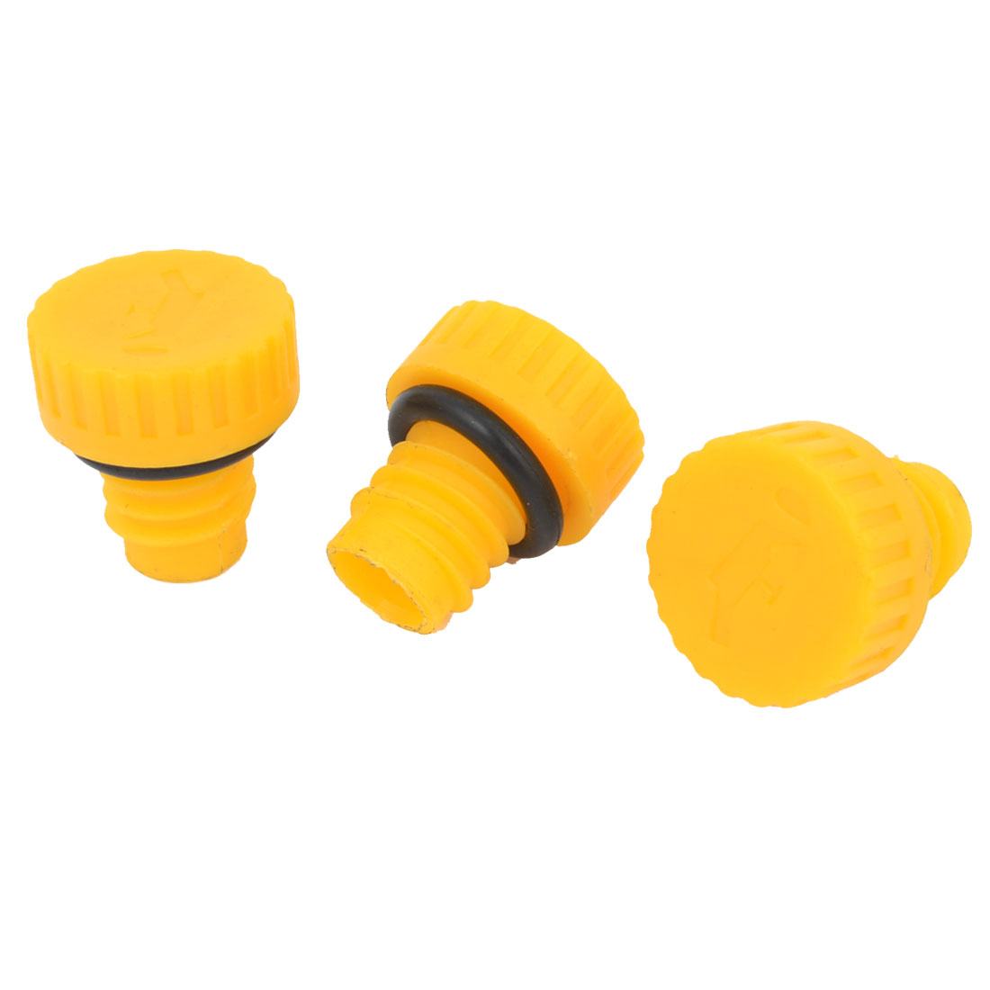 Yellow 15mm Thread Plastic Oil Connector for Air Compressor 3 Pcs