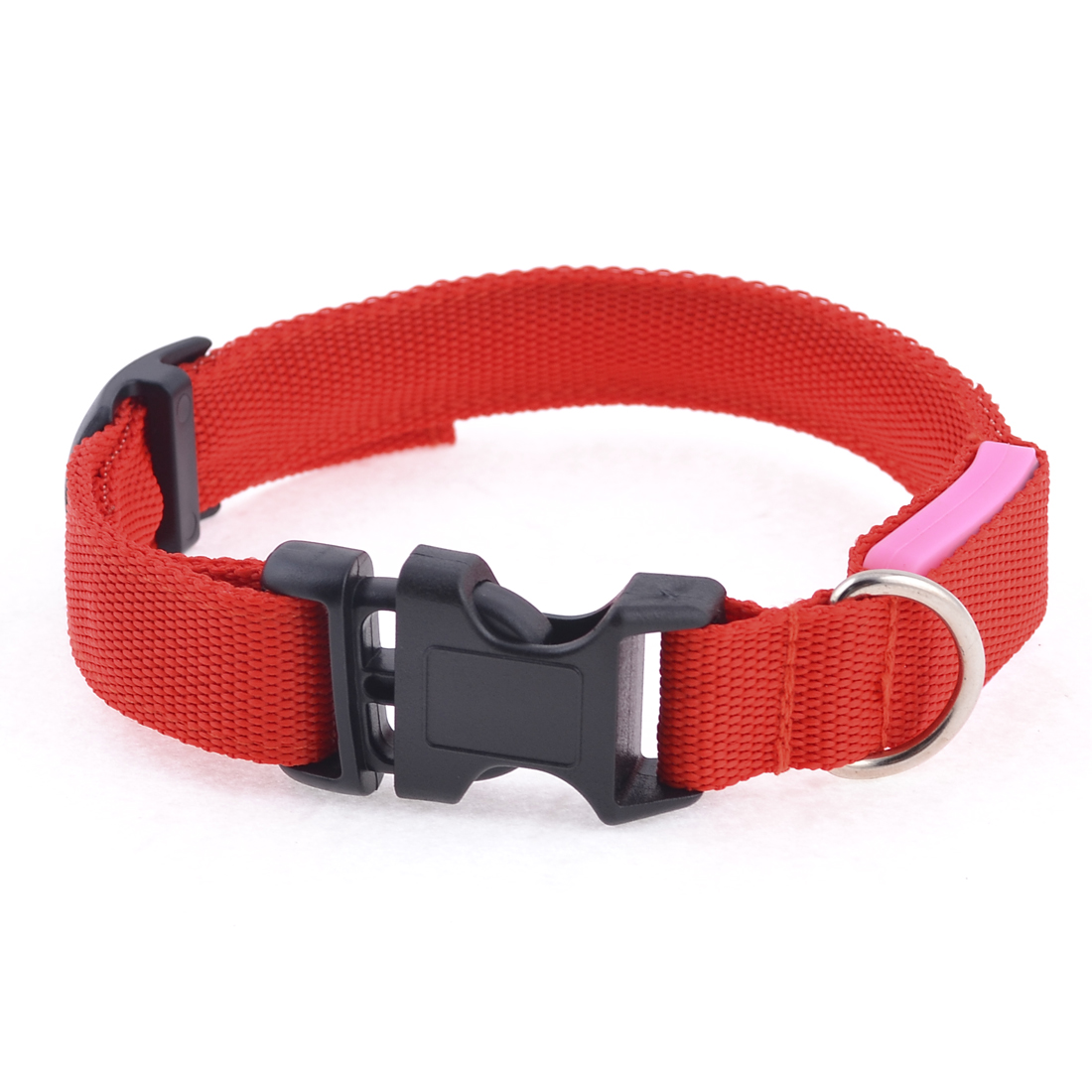 "Red LED Flash Light 17"" Length Release Buckle Nylon Pet Dog Leash Rope Strap"