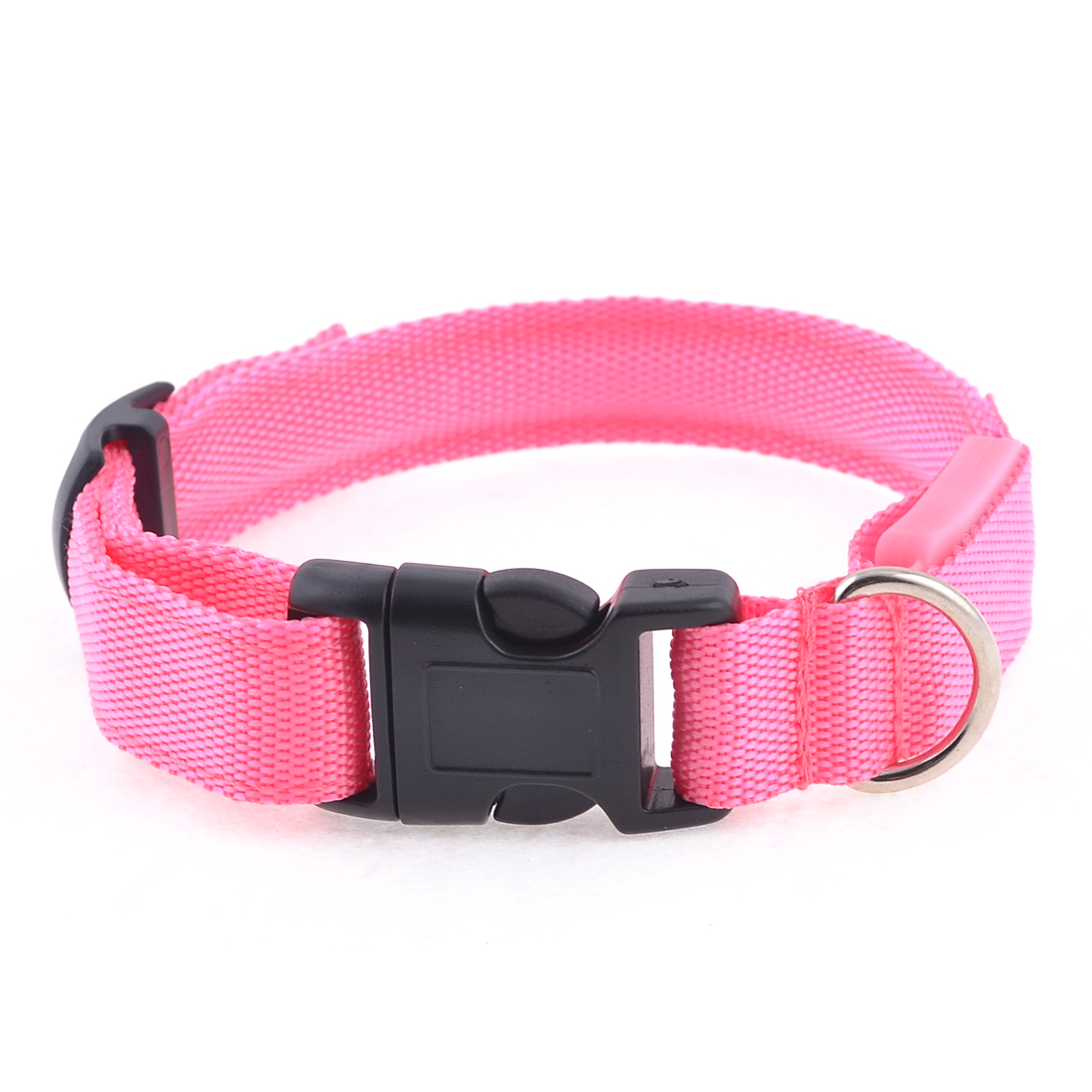 "Pink LED Flash Light 17"" Length Release Buckle Nylon Pet Dog Leash Rope Strap"