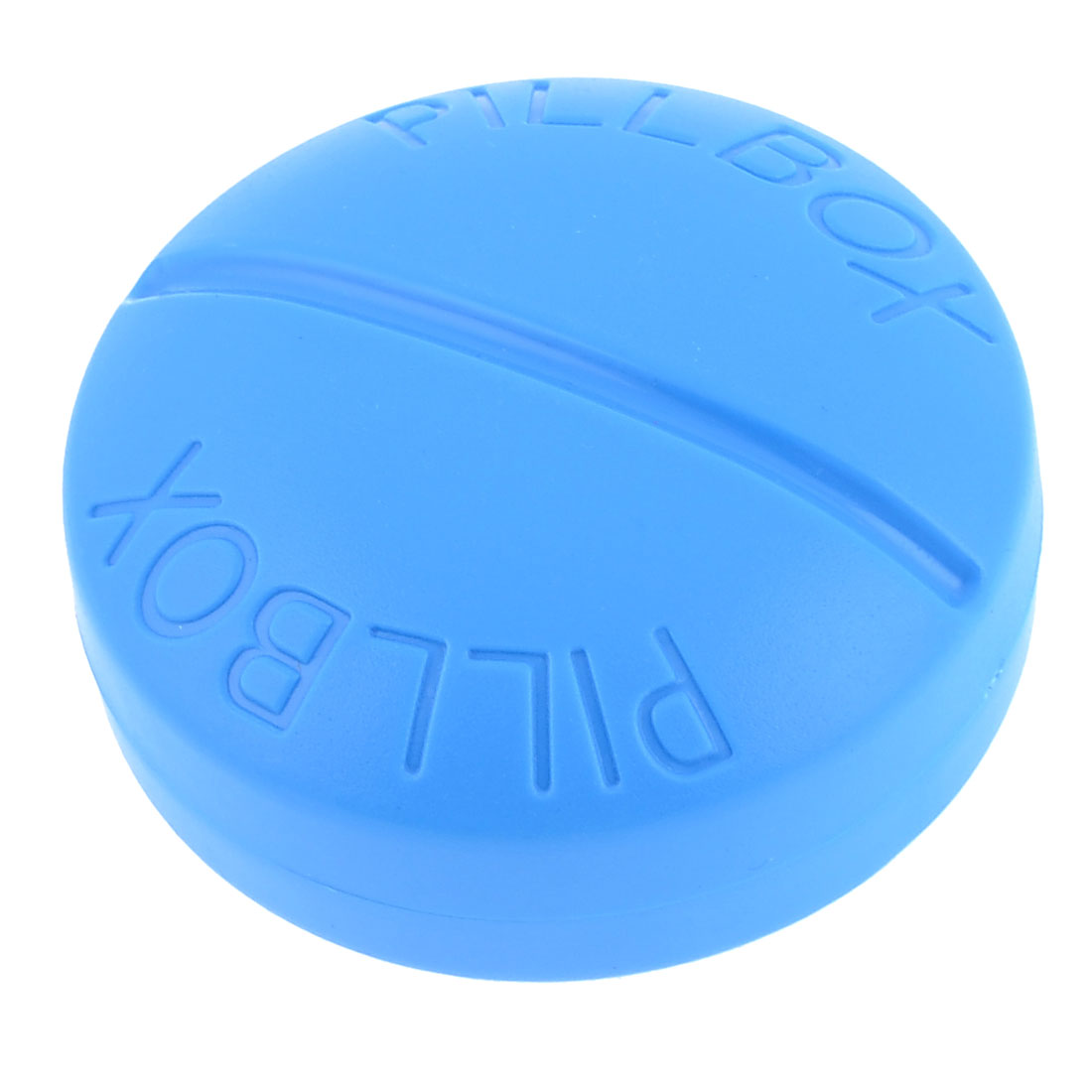 Home Blue Round Plastic 4 Sections Pill Tablet Box Holder Container