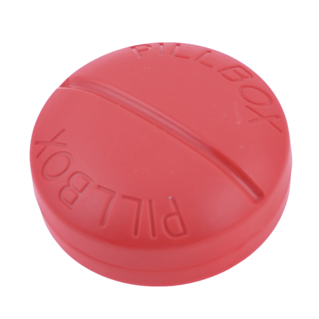 Home Travel Plastic Red Round 4 Compartments Medicine Storage Holder Pill Box