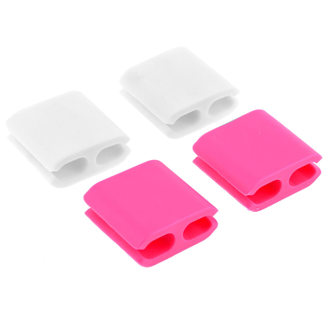 White Pink Rubber Wire Cable Drop Clip Holder Organizer 4 Pcs
