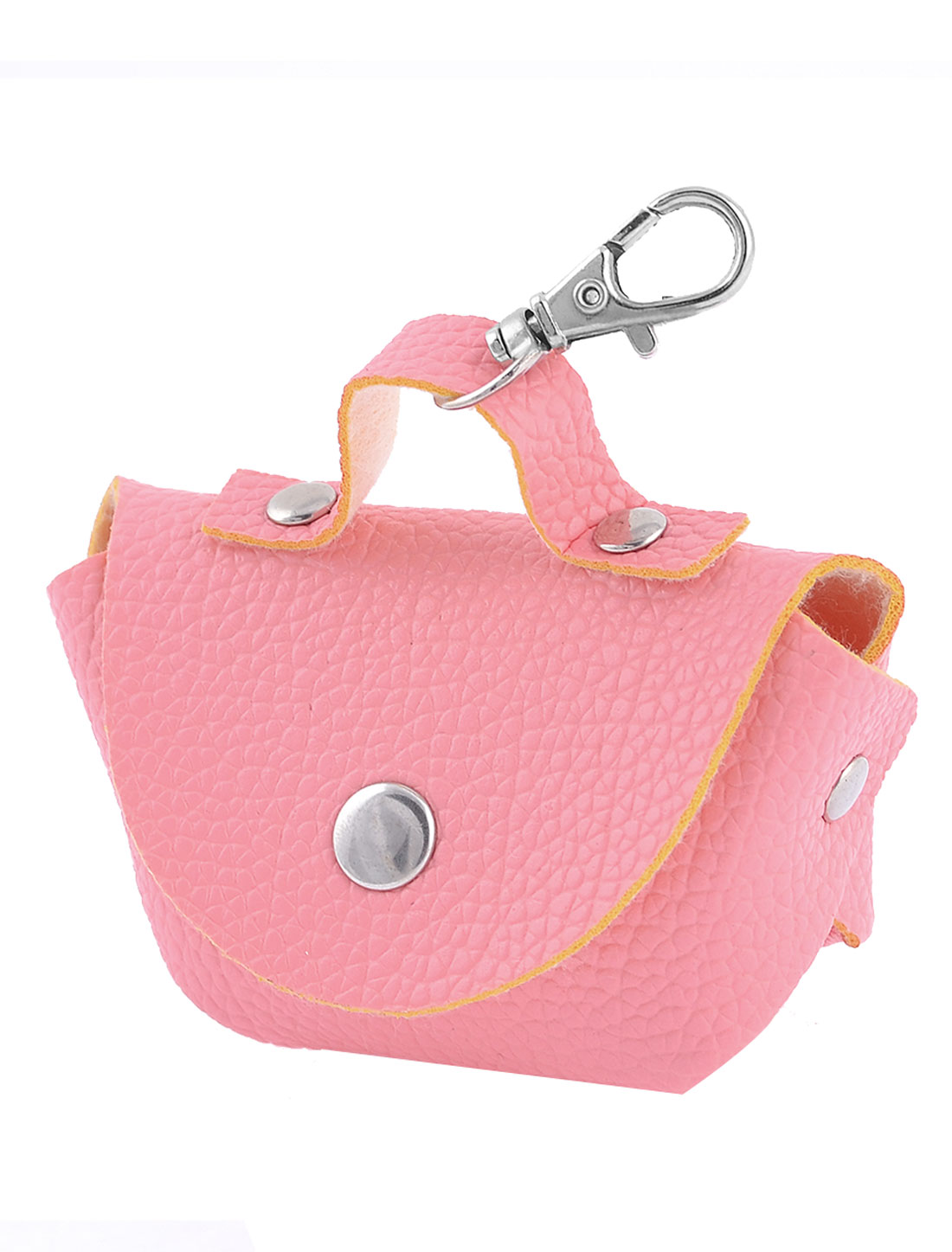 Faux Leather Litchi Pattern Press Stud Closure Coin Purse Keys Bag Pink