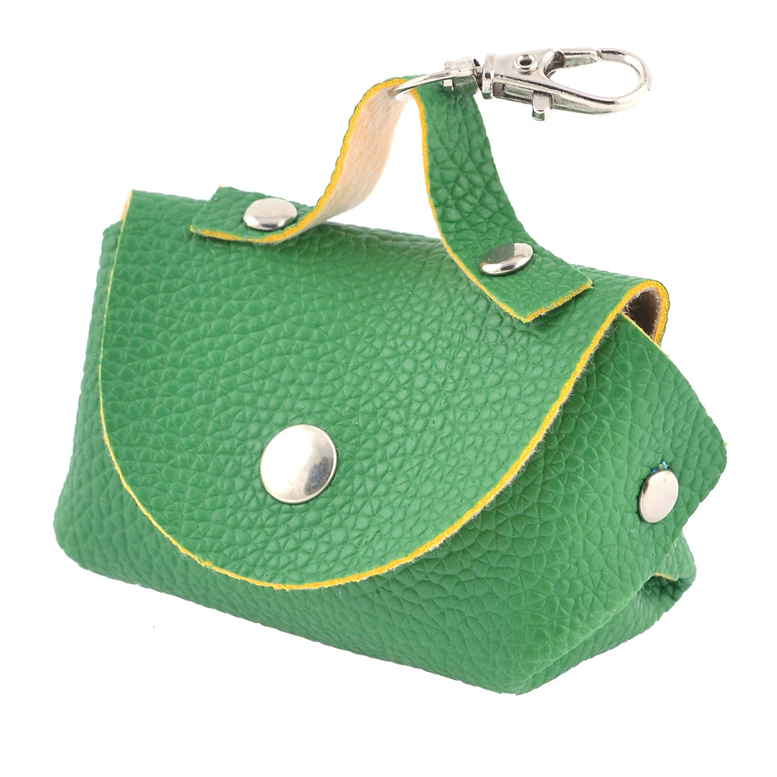Leechee Print Faux Leather Small Change Coin Purse Green w Lobster Clasp