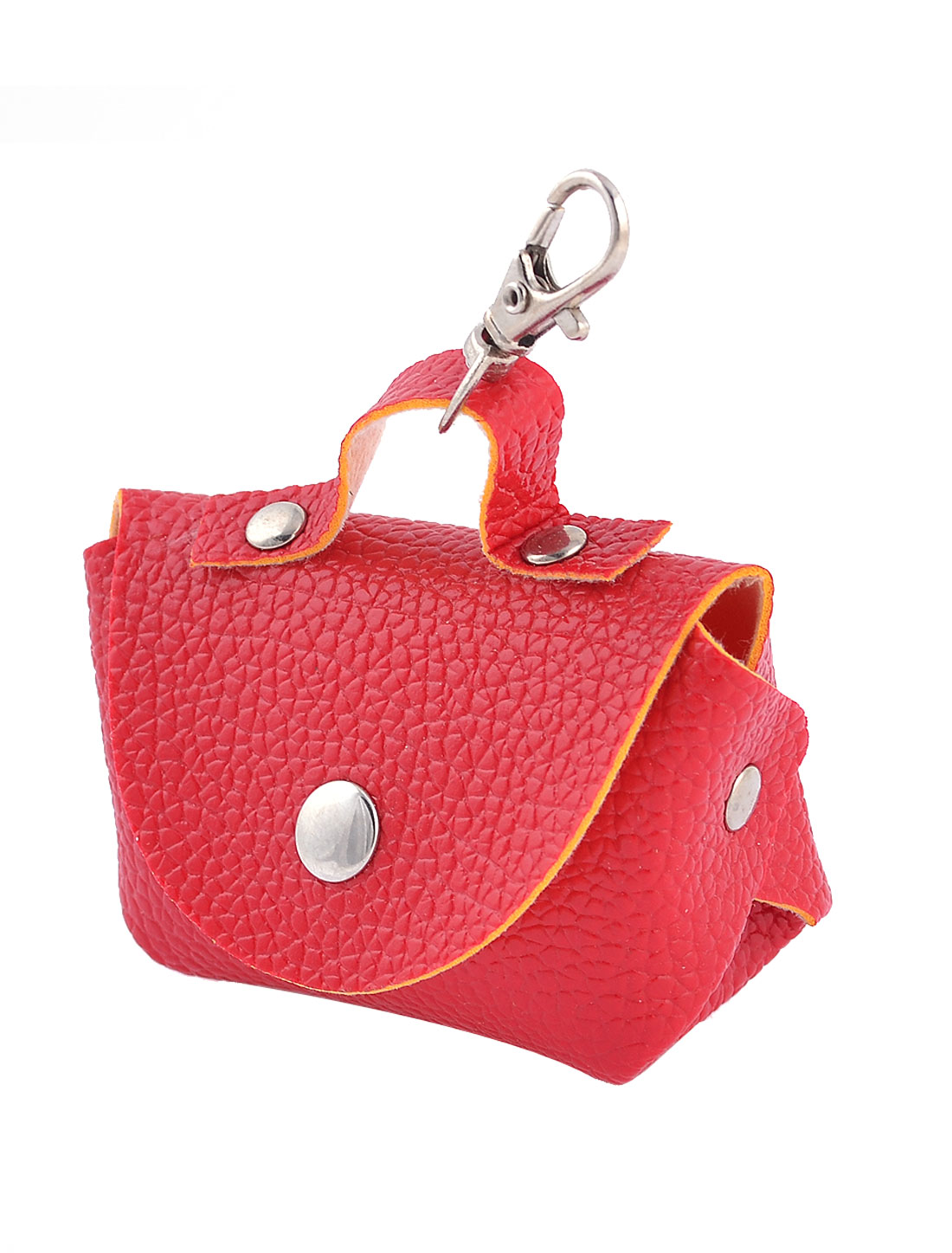 Women Portable Press Stud Textured Faux Leather Money Coin Holder Bag Red