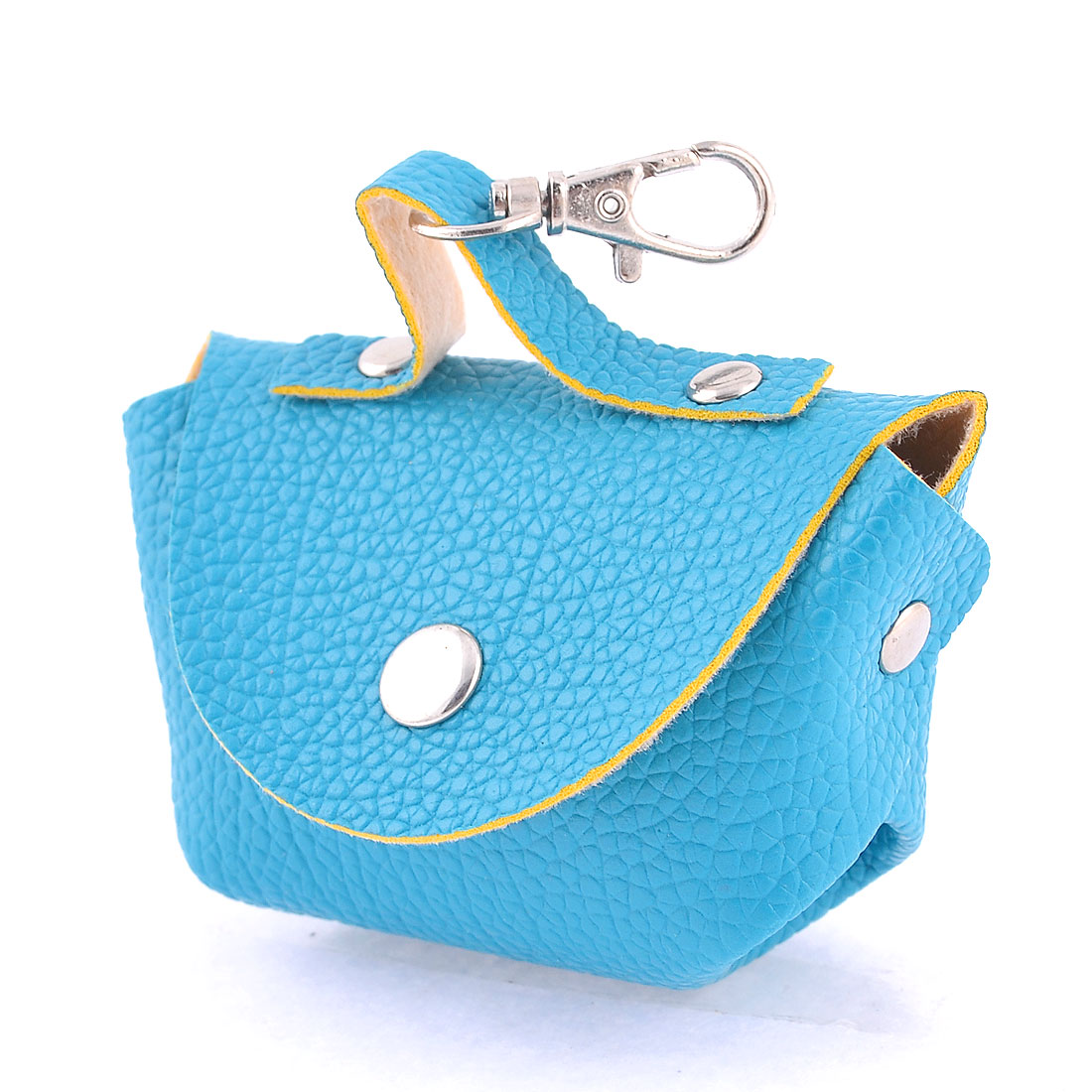 Women Portable Press Stud Textured Faux Leather Money Coin Holder Bag Blue