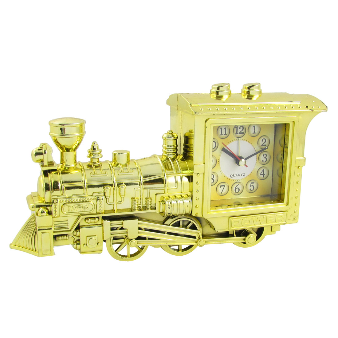Gold Tone Locomotive Engine Shaped Plastic Clockwork Alarm Timer Clock