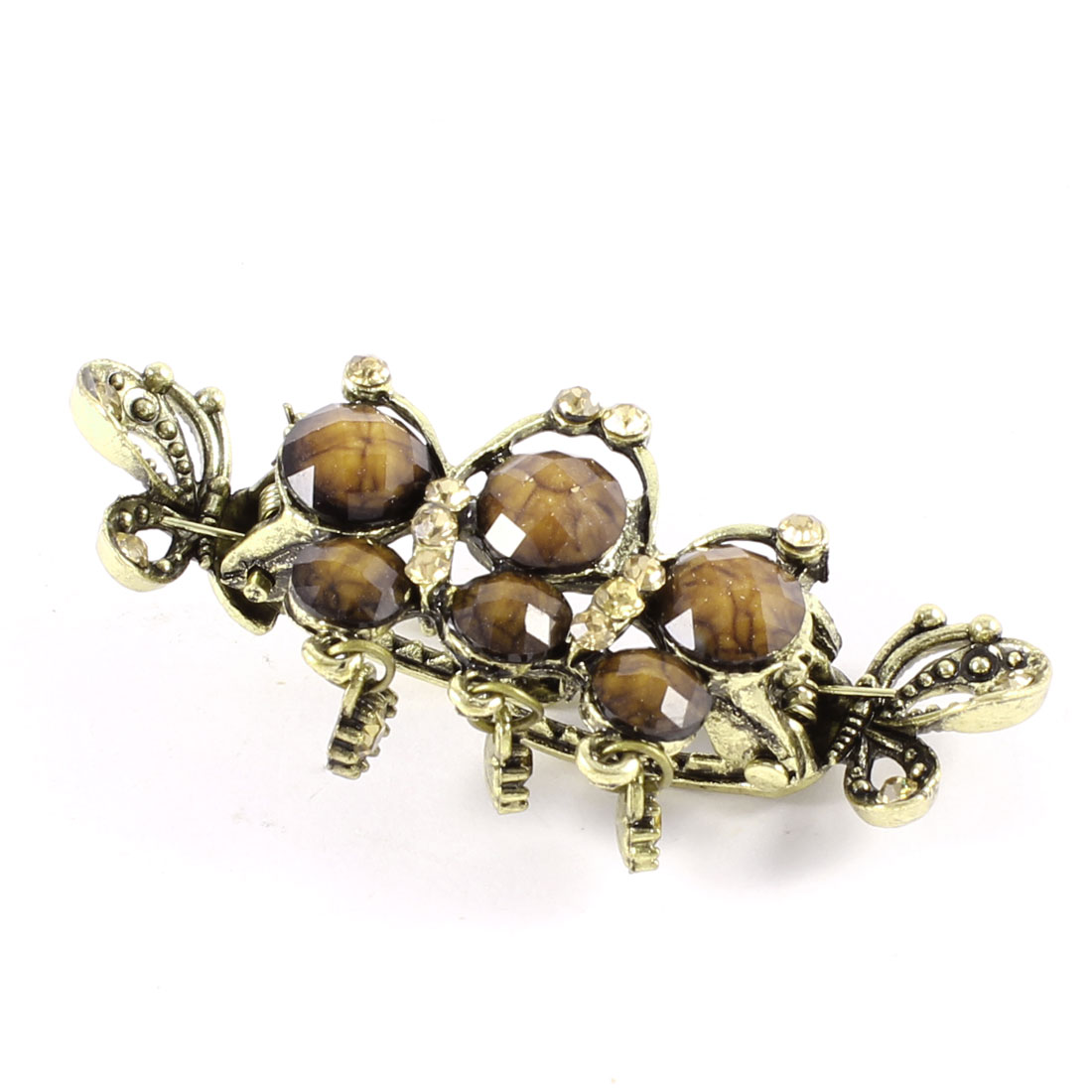 Bronze Tone Beige Plastic Round Beads Decor Rhinestones Pendant Hair Claw Clip