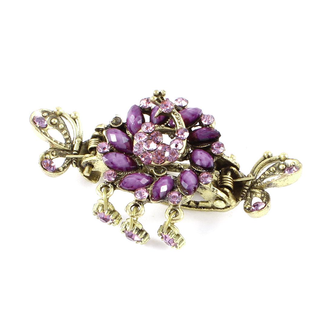 Bronze Tone Purple Glistening Rhinestones Dangle Hair Claw Teeth Hairclip