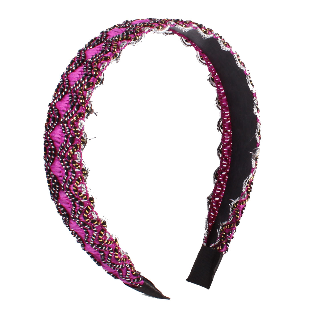 Nylon Rope Covered Wavy Edge Hair Hoop Hairband Fuchsia Black for Woman