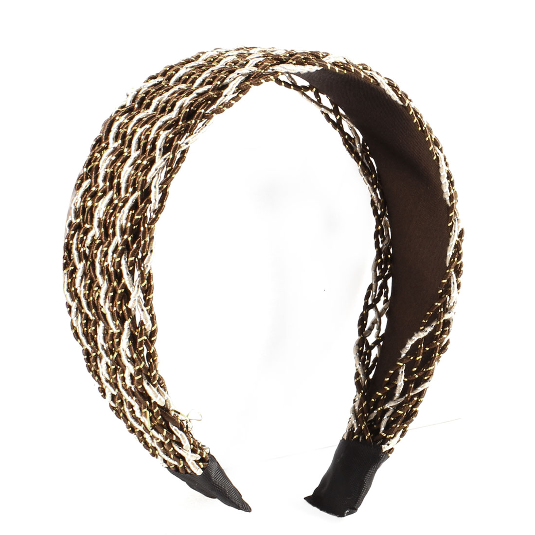 Coffee Color Nylon Rope Mesh Coated Hair Hoop Headband 4.5CM Width