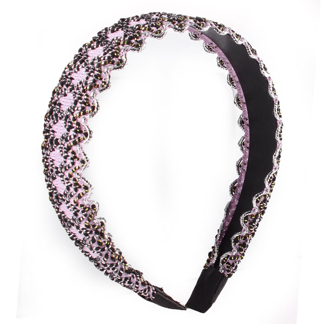 DIY Hairstyle Pink Black Wave Print Narrow Headband Hair Hoop for Women