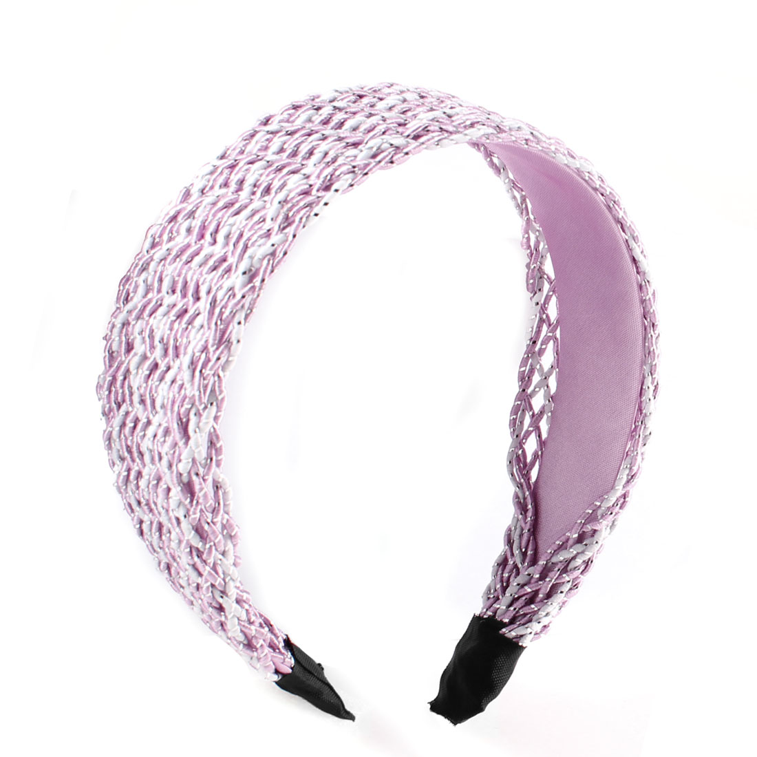 Women DIY Hairdo Pink Off White Nylon Meshy Covered Wide Headband Hair Hoop
