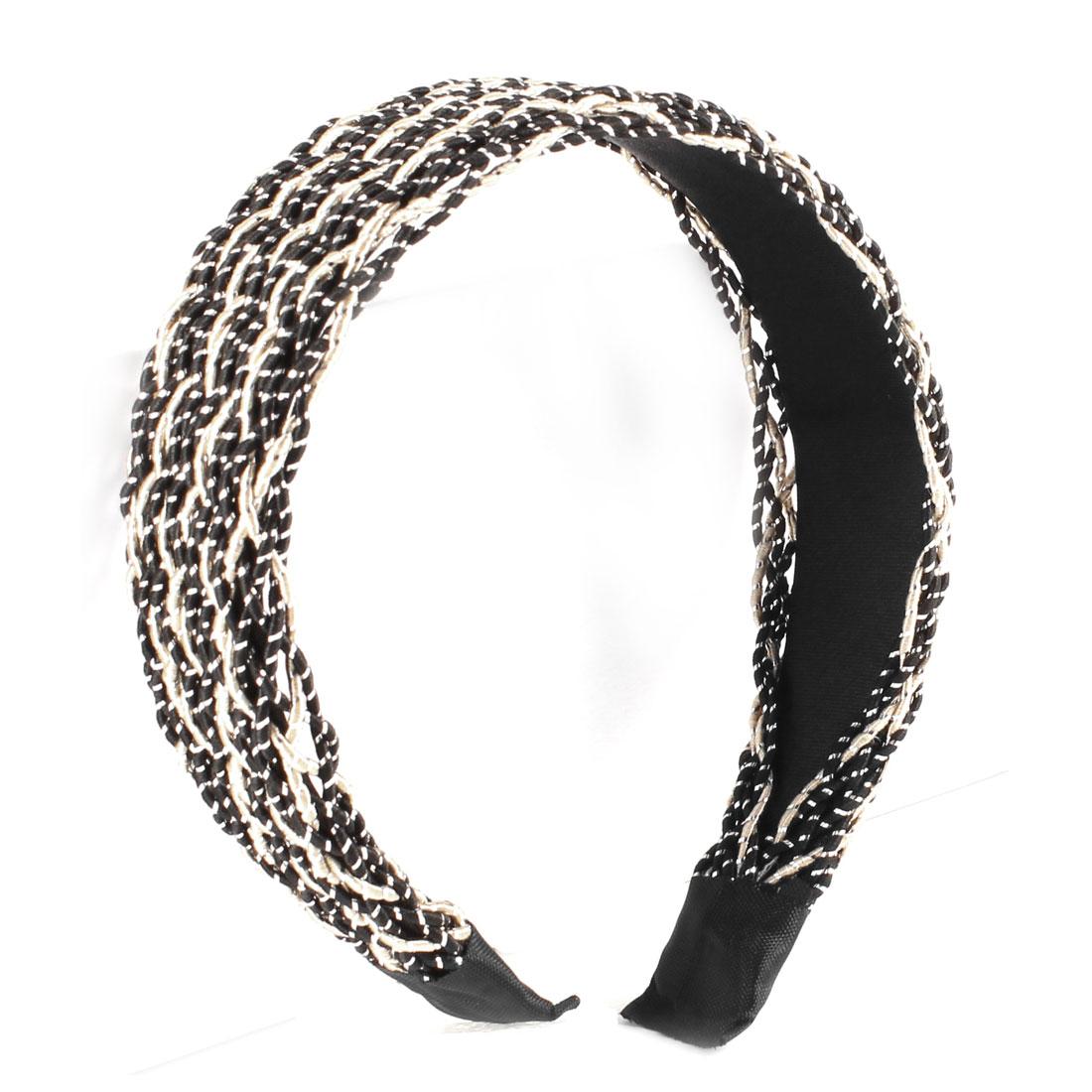 Nylon Mesh Covered Wide Hair Hoop Hairband Black for Women