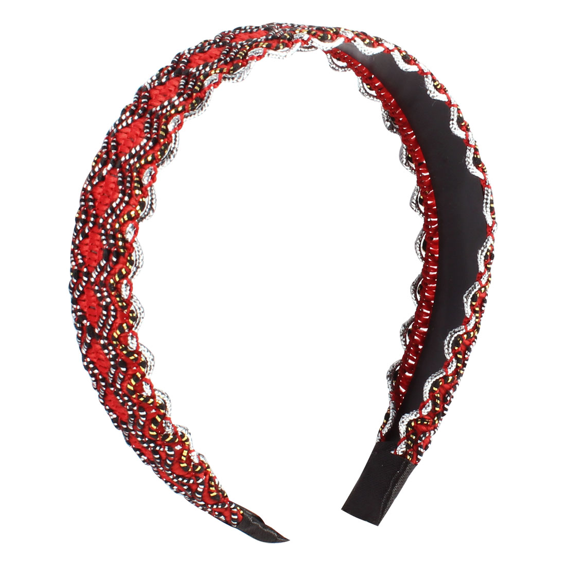 Red Black Nylon Rope Coated Wave Pattern Hair Hoop Headband 3CM Wide