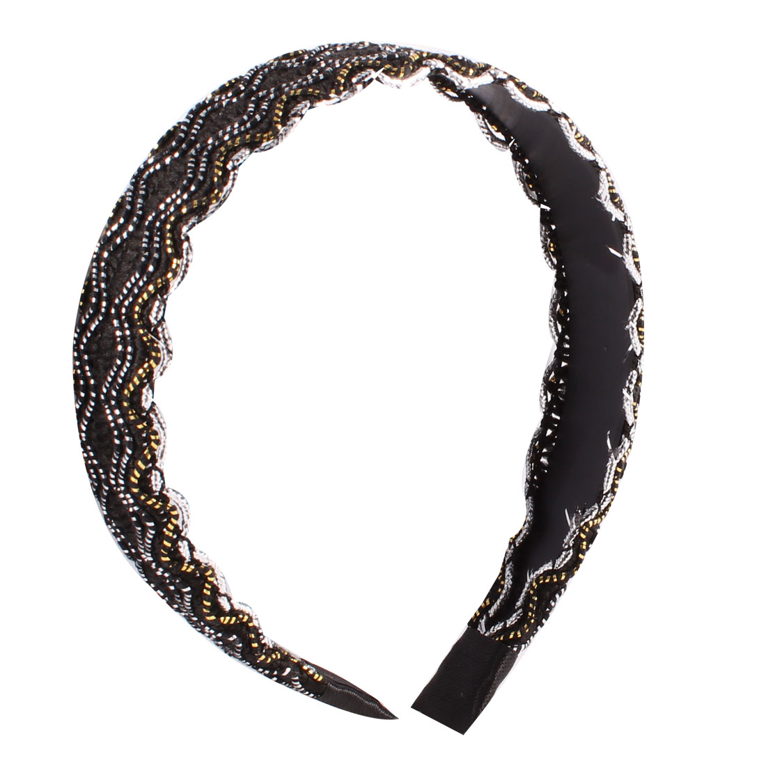 Silver Tone Black Nylon Rope Coated Wave Pattern Hair Hoop Hairband 3CM Width
