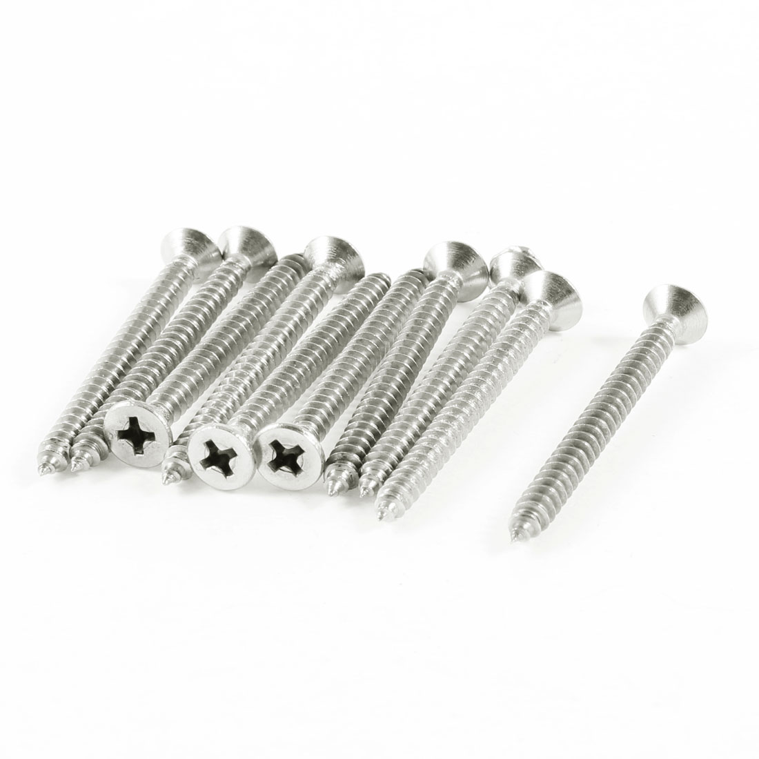 10 Pcs 44mm x 4mm Thread Phillips Head Self Tapping Screw Silver Tone
