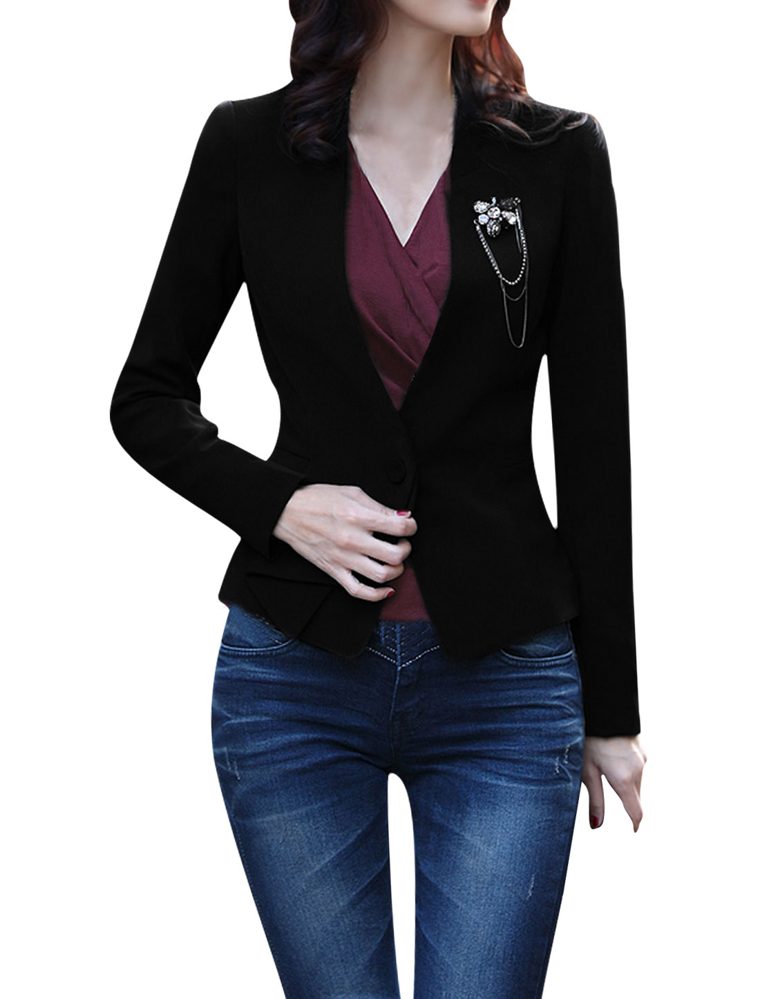 Woman New Fashion One-Button Front Padded Shoulder Black Blazer M