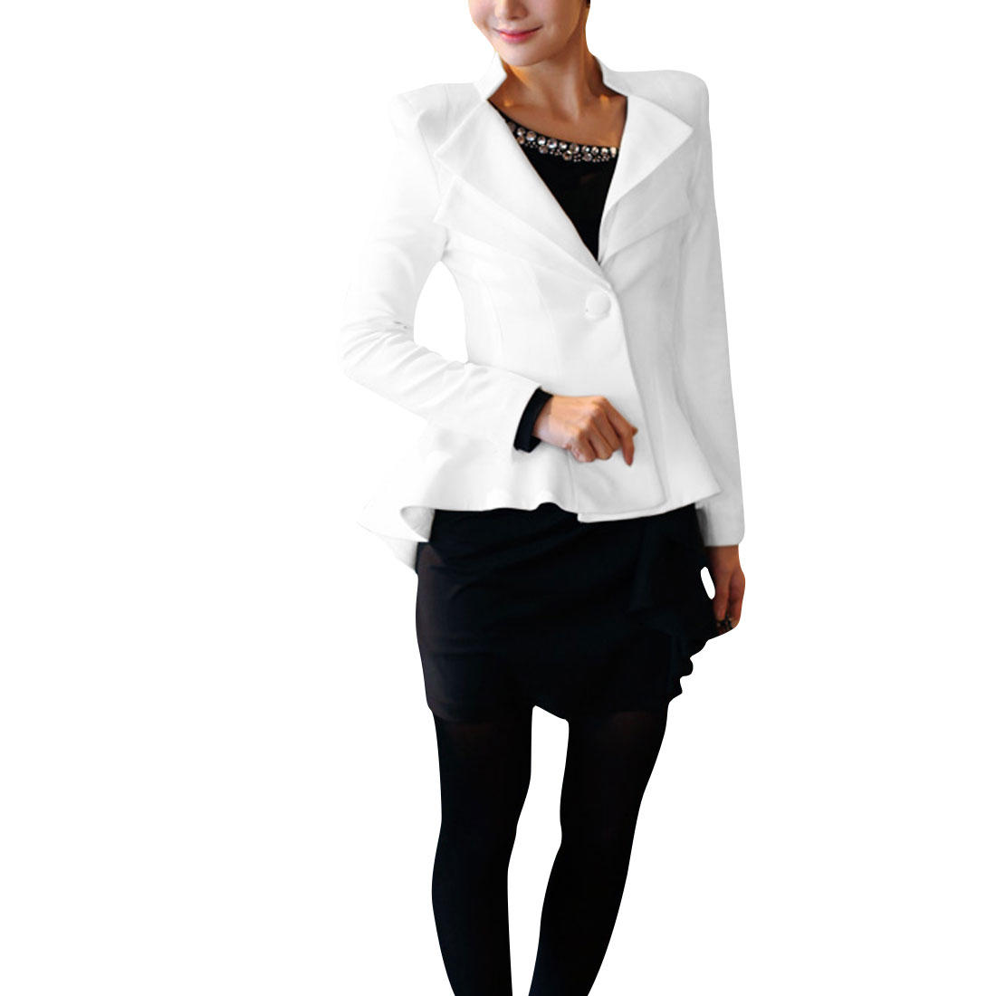 Lady Stylish Solid White Color One-Button Front Closure Peplum Blazer M