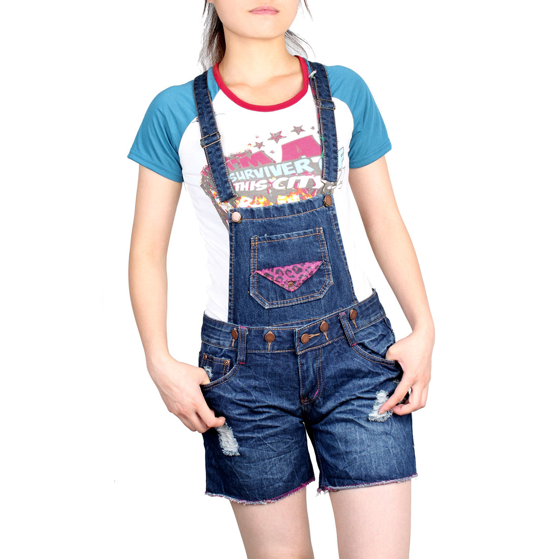 Ladies Hip Patch Pockets Boyfriends Zip Denim Short Suspender Jeans L