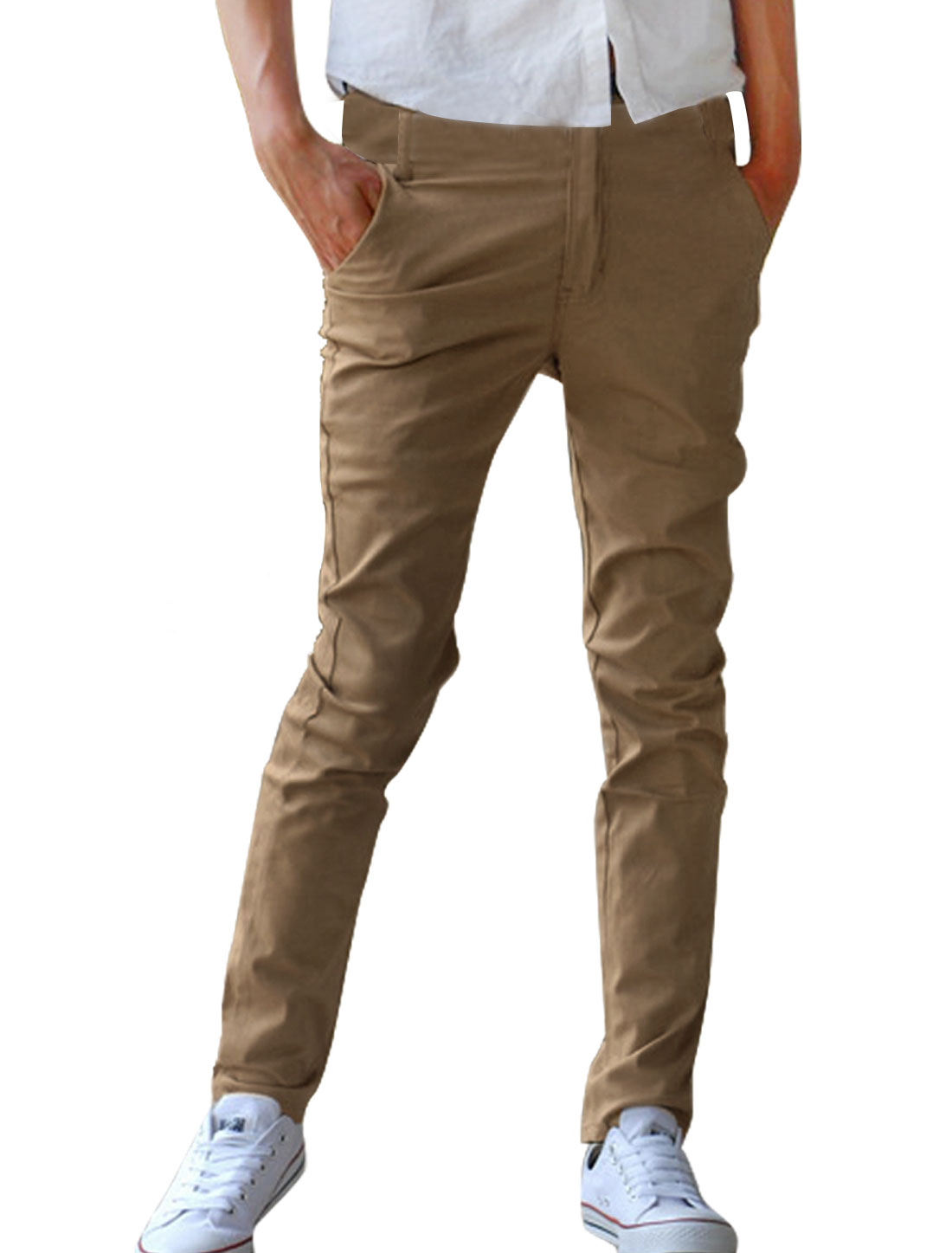 Men Medium Khaki One Button Slant Pockets Front Flat Casual Pants W34