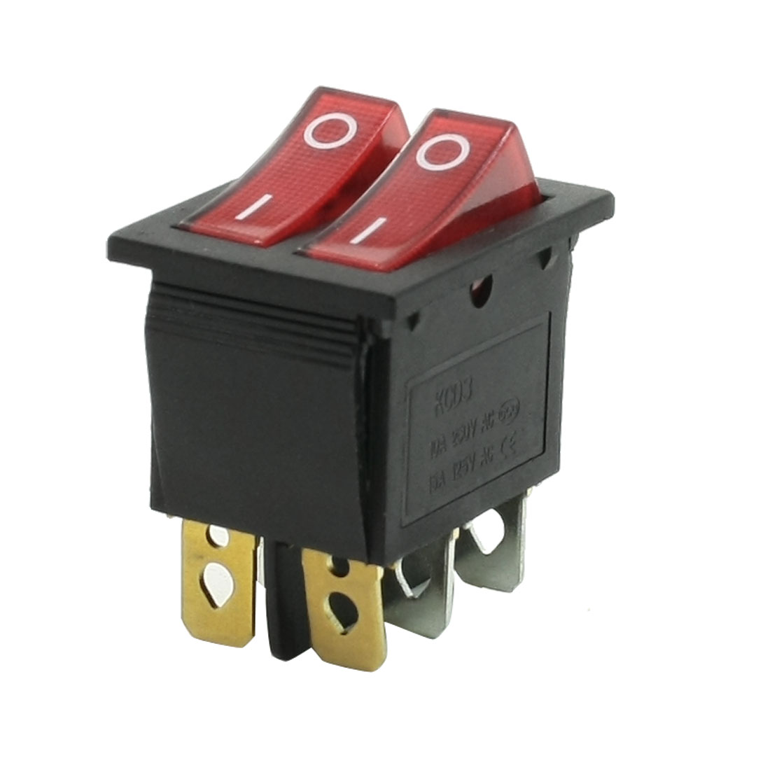 10A 250VAC 15A 125VAC 6 Pin Dual SPST On-off Red Light Rocker Switch