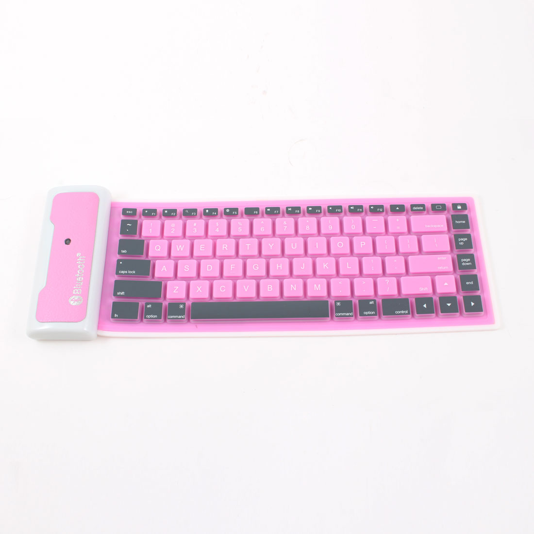 Pink White Soft Silicone bluetooth 2.0 Interface Keyboard for PC Computer Tablet