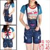 Woman Hip Patch Pockets Boyfriends Zip Denim Short Suspender Jeans Blue M