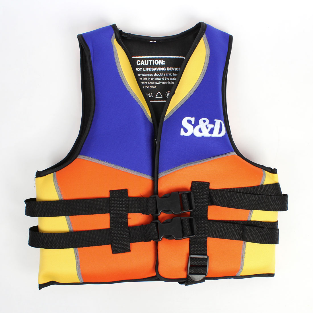 Kid Zippered Neoprene Safety Floating Swimming Life Jacket Blue Orange Yellow
