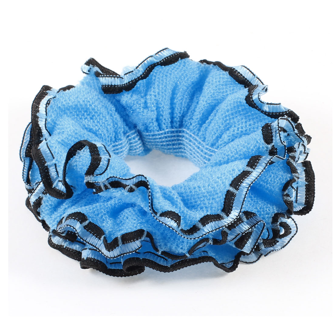 Three Layers Black Lace Blue Flower Decoration Hair Ponytail Holder