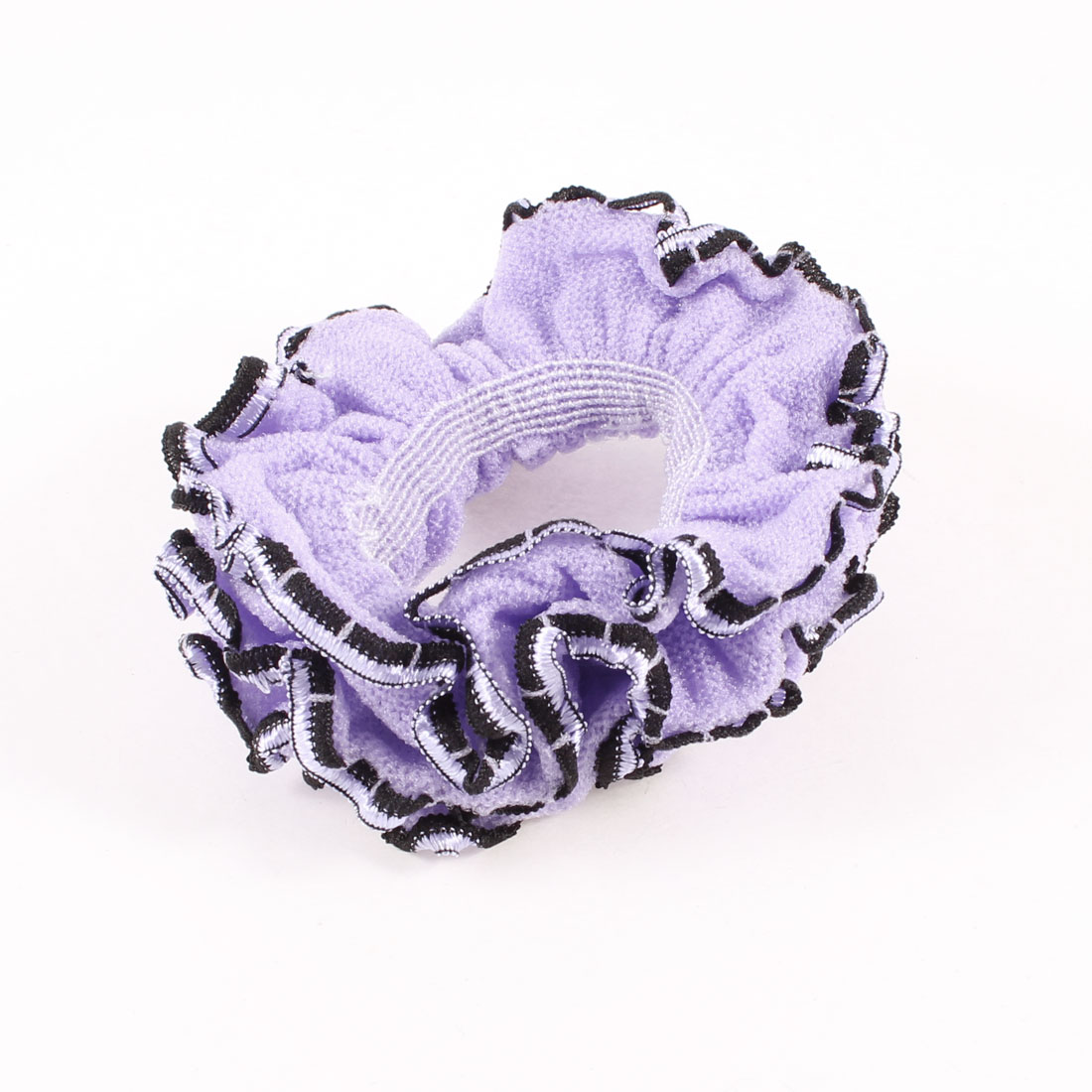 Three Layers Black Lace Purple Flower Decoration Hair Ponytail Holder
