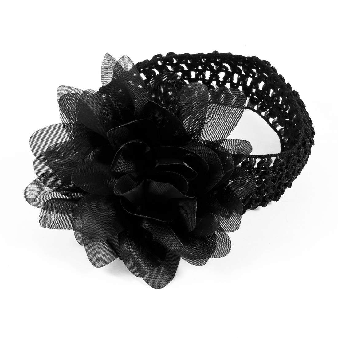 Black Organza Flower Accent Elastic Headband for Women
