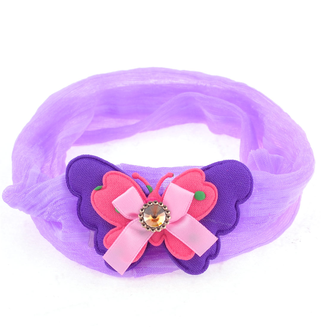 Purple Two Layer Bowknot Faux Crystal Inlay Chiffon Ponytail Holder