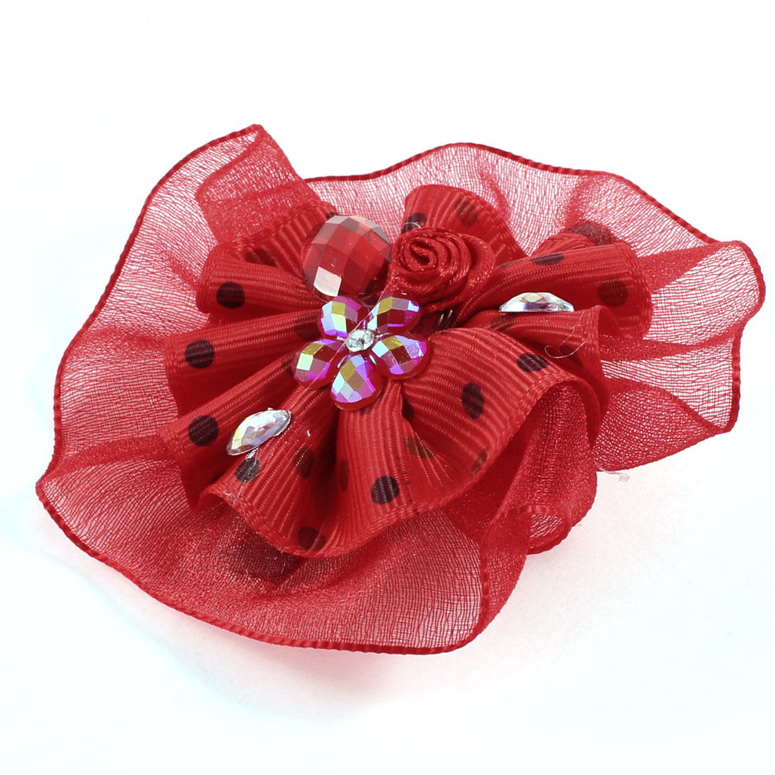 Lady Red Organza Faux Crystal Accent Ornament Single Prong Hairclip