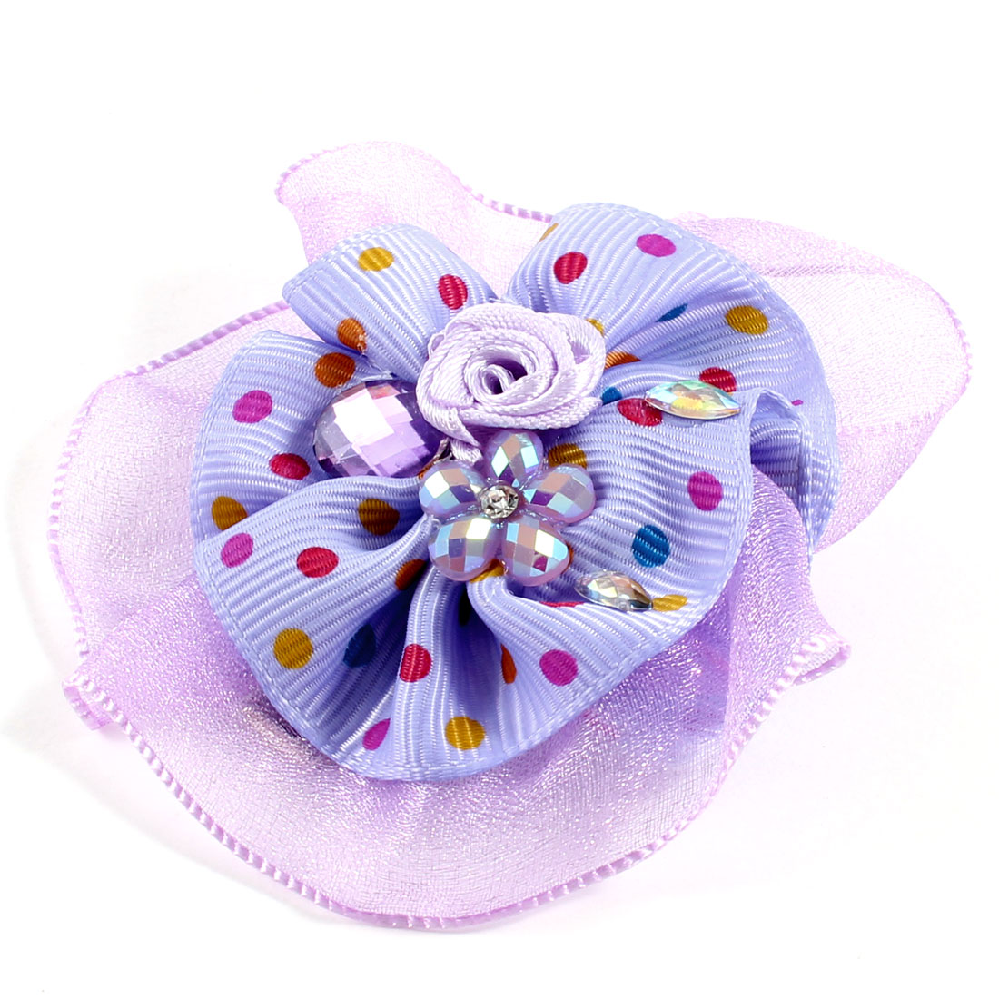 Women Light Purple Organza Round Shape Decor Alligator Hair Clips