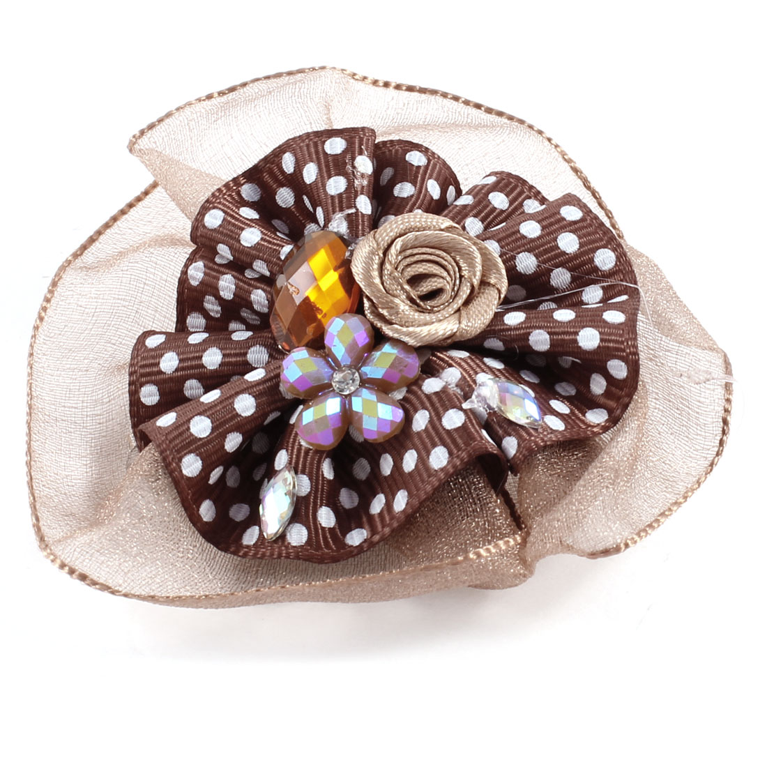 Women Brown Polyester Ruffled Flower Decoration Alligtor Hair Clips