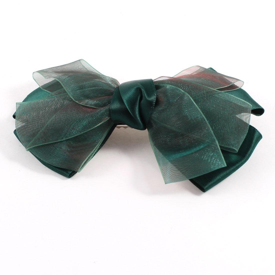 Lady Dark Green Polyester Bowtie Decoration Alligator Hair Clips