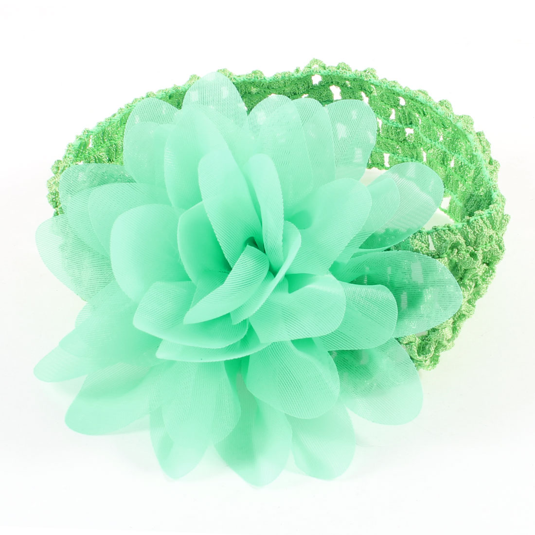 Two Tone Green Organza Flower Accent Elastic Headband
