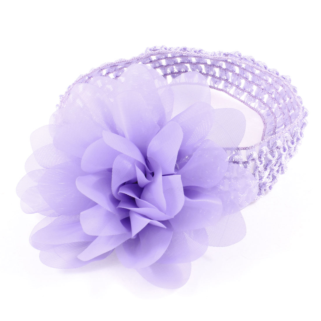 Light Purple Organza Flower Accent Elastic Headband for Lady