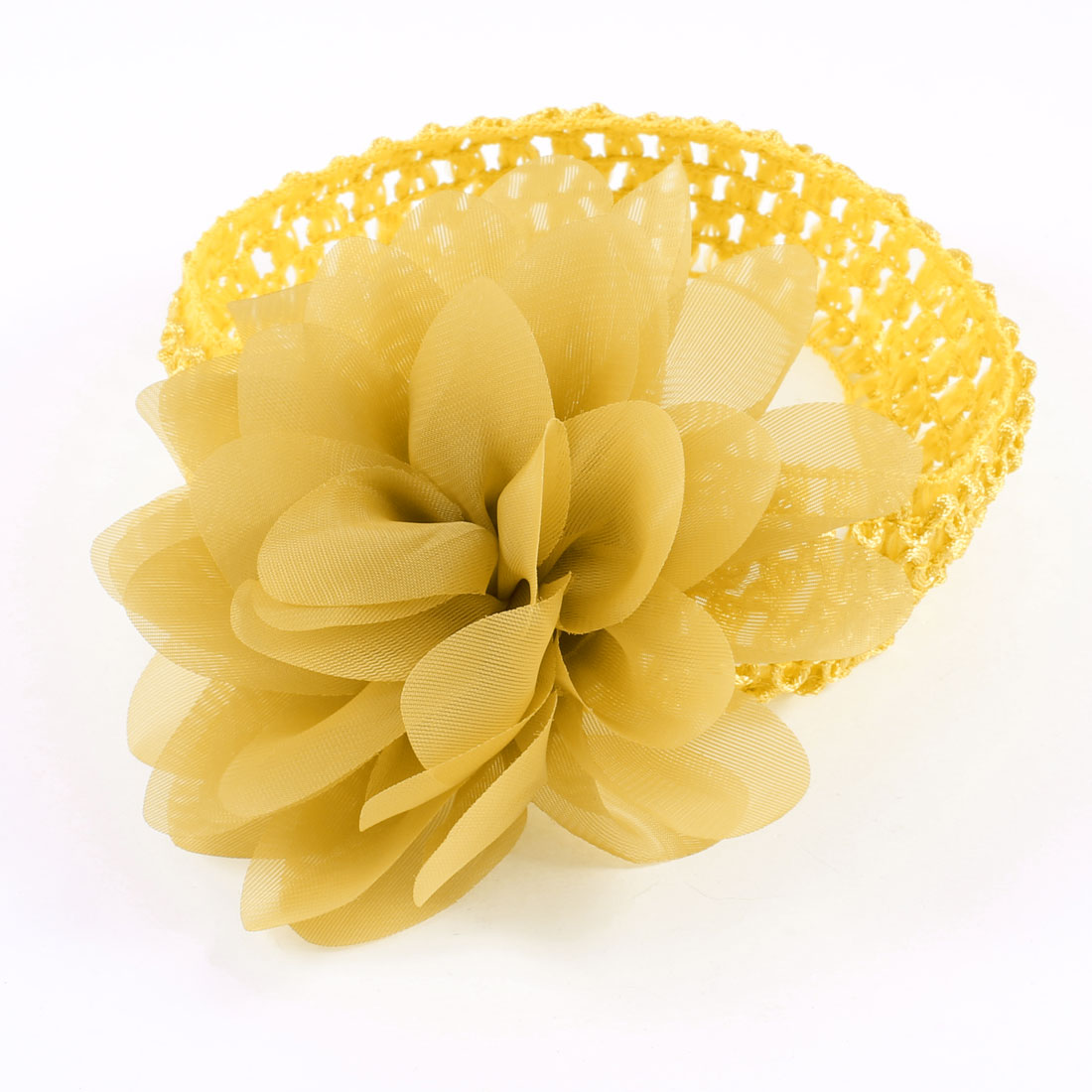 Women Yellow Organza Flower Accent Elastic Headband