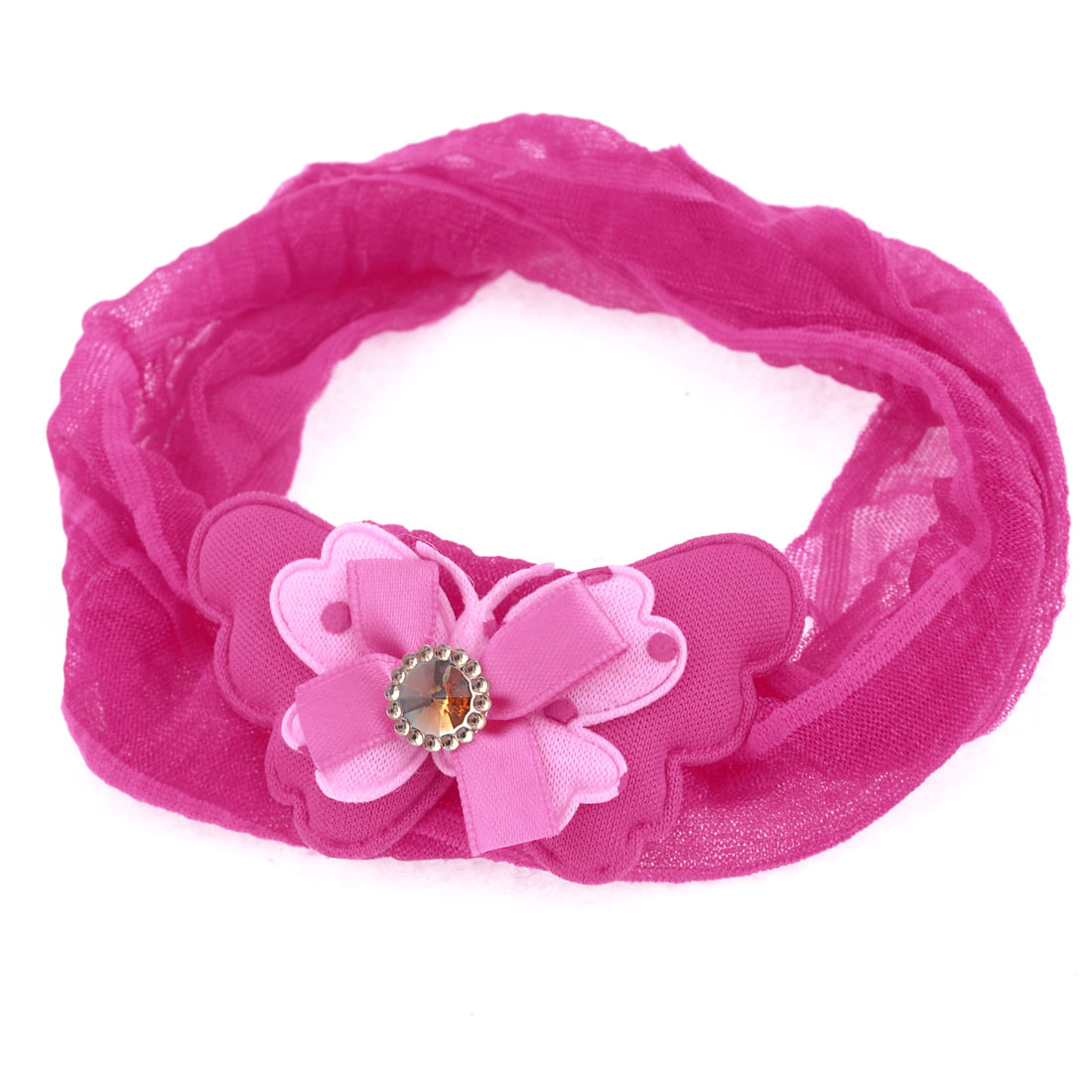 Fuchsia Two Layer Bowknot Faux Crystal Inlay Chiffon Ponytail Holder